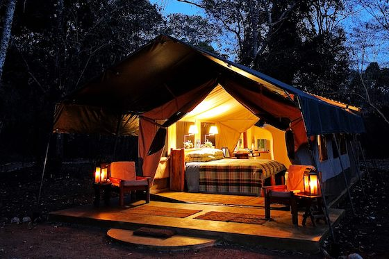 Kitich tent at night