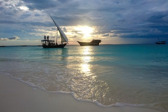 Zanzibar dhows at sunset